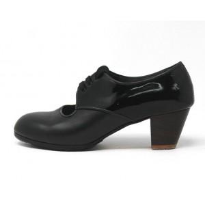 Carmela 37,5 AA+PR Leather Negro Cubano 5 Visto Atrás Charol