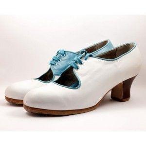 Carmen 39.5 A Leather Blanco Carrete 5 Visto Interior/Ribete Turquesa