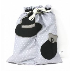 Flamenco Bag Shoes Holder Gris Lunares Blancos