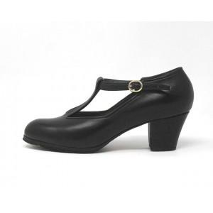 Sandalia 34,5 A Leather Negro Cubano 5 Forrado