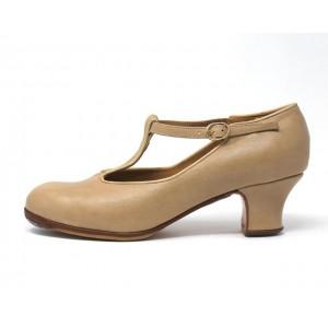 Sandalia 40,5 AA Leather Beige Carrete 5 Forrado