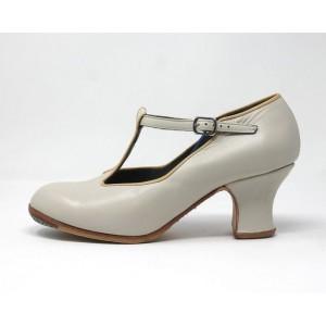 Sandalia 40 A Leather Blanco Roto Carrete 6 Forrado Ribete Beige Claro
