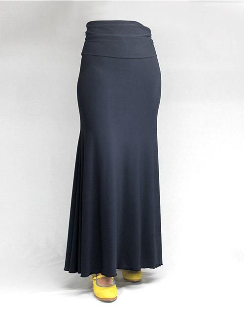Skirt Basic 3 Godets Azul Petroleo
