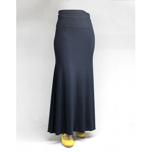 Skirt Basic 3 Godets Azul Petroleo