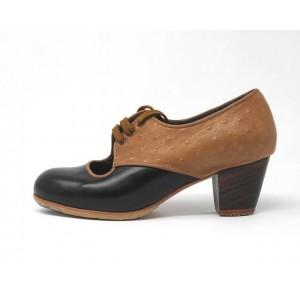 Carmela 34,5 AA Leather Negro Cubano 5 Visto Atrás Avestruz Ocre