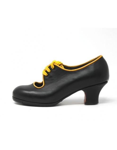 Carmen 34 A Leather Negro Carrete 5 Forrado Ribete Amarillo