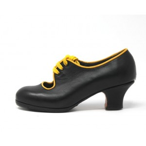 Carmen 34 A Leather Negro Carrete 5 Forrado Ribete Amarillo