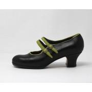 Manuela 40 A Leather Negro Carrete 5 Forrado Ribete/Correas Manzana