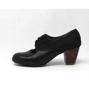 Carmela 38,5 A Leather Negro Cubano 5 Visto Atrás Encaje
