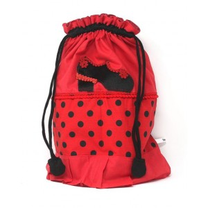 Bolsa Flamenca Portazapatos Roja Lunares Negro 6