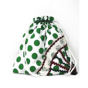 Bolsa Flamenca Portazapatos Blanco Lunares Verde 7