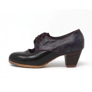 Carmela 36,5 A Leather Negro Cubano 5 Visto Atrás Serpiente 25
