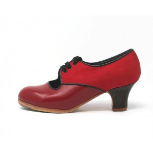 Carmela 35,5 AA Leather Rojo Carrete 5 Visto Atrás Nobuck R. Negro