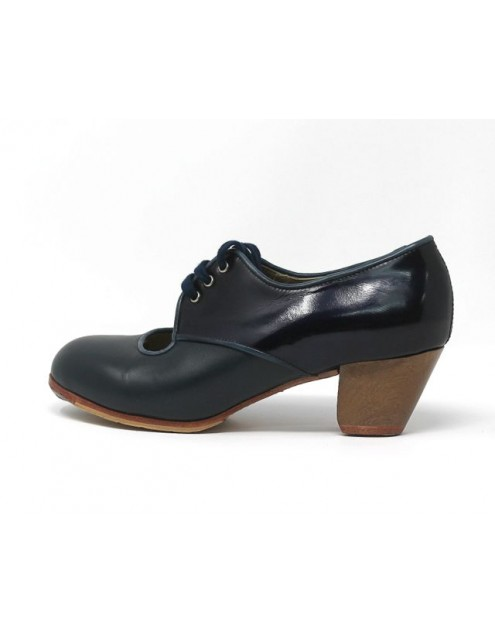 Carmela 37 AA+PR Leather Navy Cubano 5 Visto Atras Charol