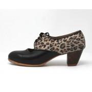Carmela 39,5 A Leather Negro Cubano 5 Visto Atrás Leopardo