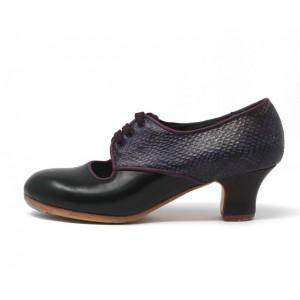 Carmela 39 A+PR Leather Negro Carrete 5 Visto Atrás Serpiente 25