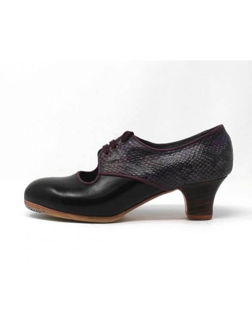 Carmela 39,5 A+PR Leather Negro Carrete 5 Visto Atrás Serpiente 25