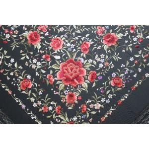 Silk Shawl 140x140cm Negro Bordado Multicolor