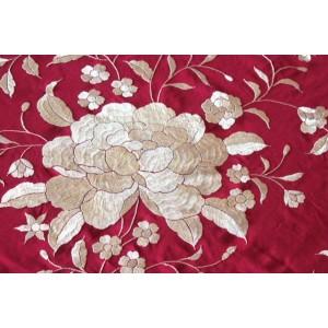 Silk Shawl 140x140cm Granate Bordado Beige