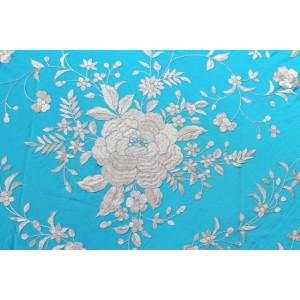 Silk Shawls 140x140cm Turquesa B/F Marfil