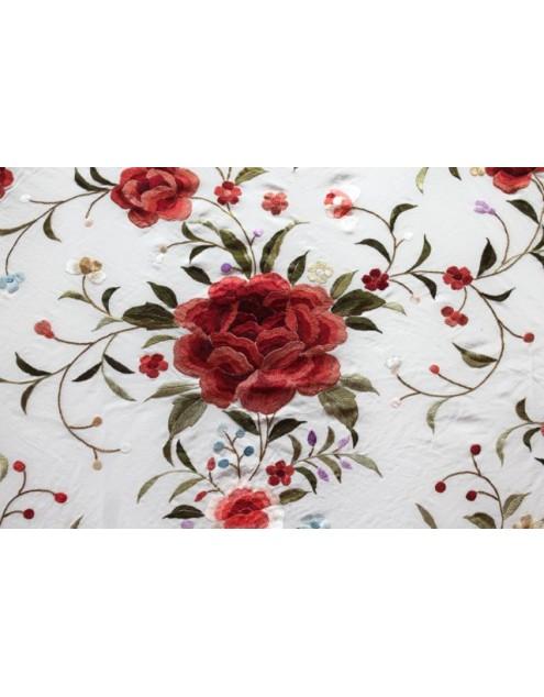Silk Shawl 140x140cm Blanco Bordado Multicolor