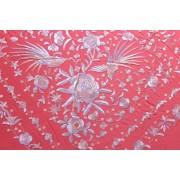 Silk Shawl 140x140cm Coral Bordado Rosa