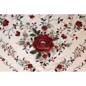 Silk Shawl 140x140cm Rosa Palo Bordado Multicolor