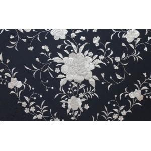 Silk Shawl 140x140cm Negro Bordado & Flecos Beige