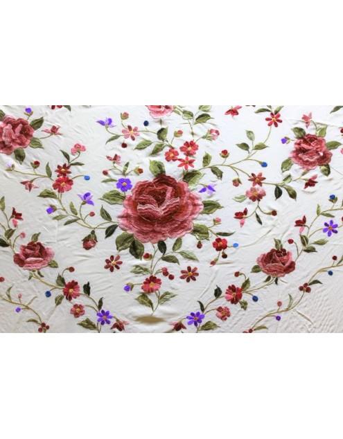 Silk Shawl 140x140cm Beige Bordado Multicolor