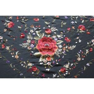 Silk Shawl 140x140cm Negro B/Multicolor