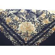 Silk Shawl 140x140cm Negro Bordado Vainilla