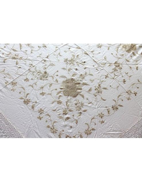 Silk Shawl Verbena 120x120cm Marfil Bordado Beige