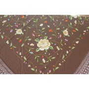 Silk Shawl Verbena 120x120cm Marrón Bordado Multicolor