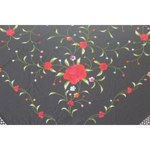 Silk Shawl Verbena 120x120cm Negro Bordado Multicolor