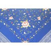 Silk Shawl Verbena 120x120cm Azulón Bordado Multicolor
