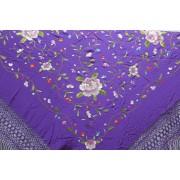 Silk Shawl Verbena 120x120cm Morado Bordado Multicolor