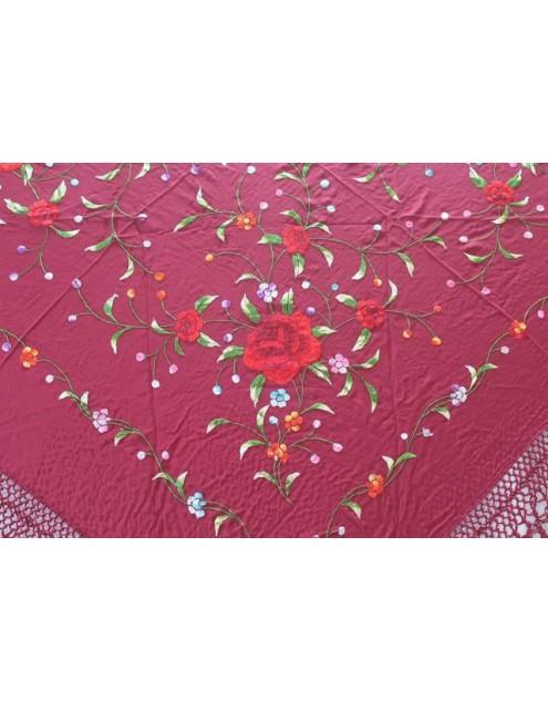 Silk Shawl Verbena 120x120cm Granate Bordado Multicolor