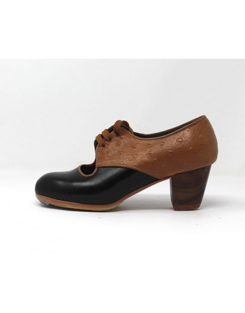 Carmela 34,5 AA Leatherr Negro Cubano 5 Visto Atrás Avestruz Ocre