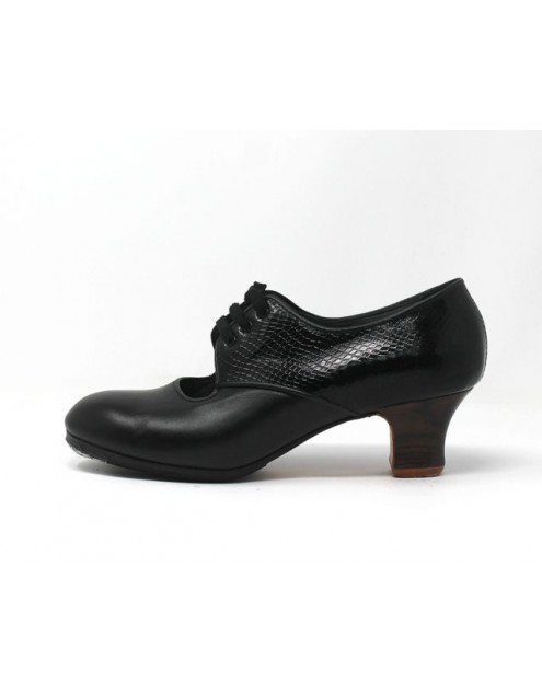 Carmela 39,5 AA+PR Leather Negro Carrete 5 Visto Atrás Coco Negro