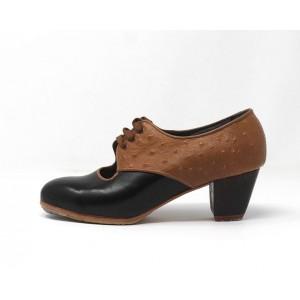 Carmela 35,5 A Leather Negro Cubano 5 Visto Atrás Avestruz Ocre