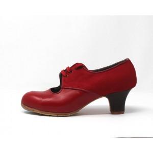 Carmela 37,5 AA+PR Leather Rojo Sangre Carrete 5 Visto Atrás Suede Rojo