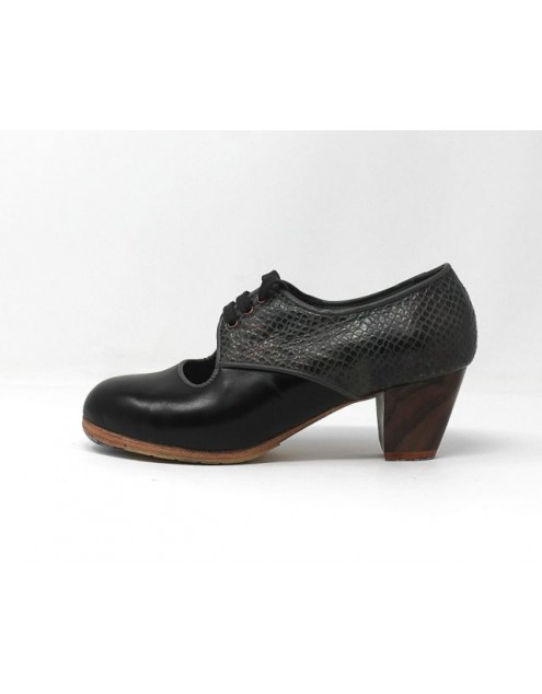Carmela 34,5 AA+PR Leather Negro Cubano 5 Visto Atrás Serpiente 15