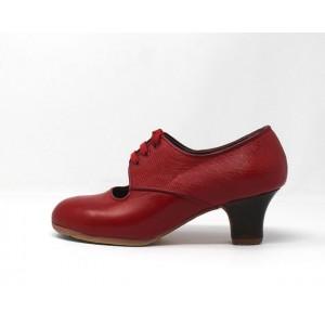 Carmela 37 A+PR Leather Rojo Sangre Carrete 5 Visto Atrás Coco Rojo Claro