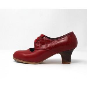 Carmela 36,5 A Leather Rojo Sangre Carrete 5 Visto Atrás Coco Rojo