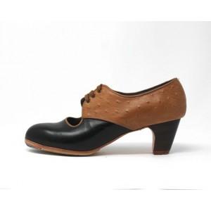 Carmela 41 A Leather Negro Clásico 5 Visto Atrás Avestruz Ocre