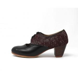 Carmela 37 AA+PR Leather Negro Cubano 5 Visto Atrás Scale Granate