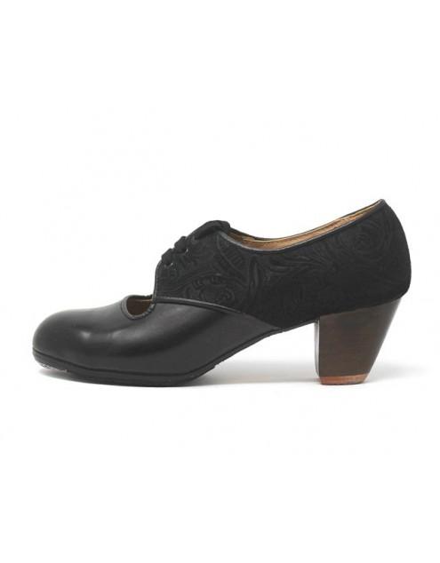 Carmela 37,5 A+PR Leather Negro Cubano 5 Visto Atrás Grabado Negro