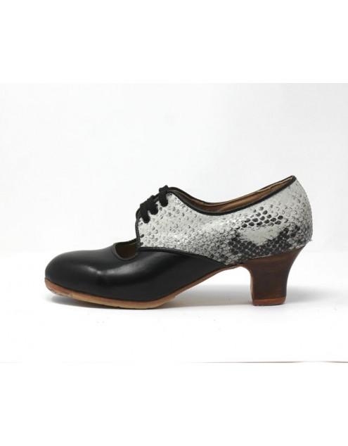 Carmela 37,5 AA+PR Leather Negro Carrete 5 Visto Atrás Serpentine 37