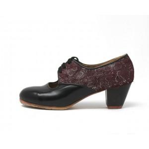 Carmela 37,5 AA+PR Leather Negro Cubano 5 Visto Atrás Scale Granate