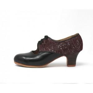 Carmela 37,5 AA Leather Negro Carrete 5 Visto Atrás Scale Granate